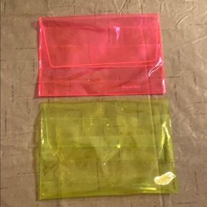 2 translucent cosmetic bags